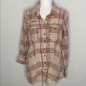Free People Button Up Plaid with Pockets